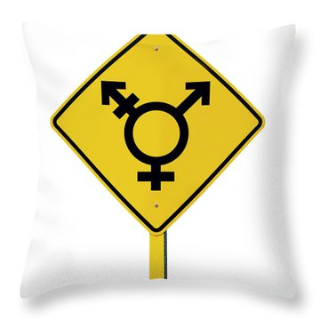 Lgbt Logo Caution Road With Rainbow Flag Sign Isolated Throw Pillow