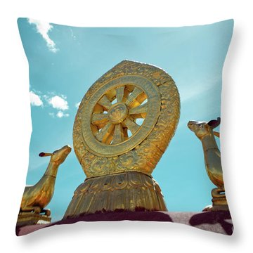 Lhasa Jokhang Temple Fragment Tibet Throw Pillow