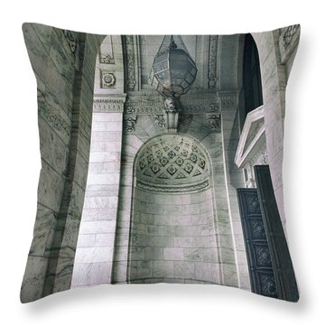 Throw Pillow featuring the photograph Library Portico by Jessica Jenney