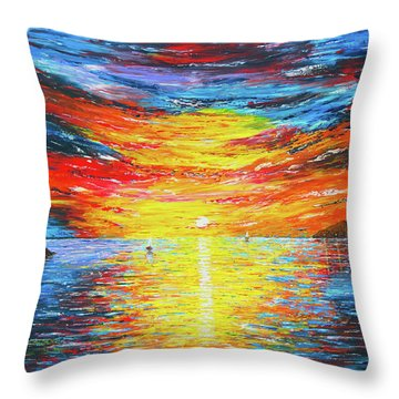 Throw Pillow featuring the painting  Lighthouse Sunset Ocean View Palette Knife Original Painting by Georgeta Blanaru