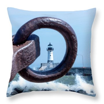 Lighthouse Thru The Hole Throw Pillow