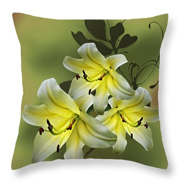 Lily Trio Throw Pillow by Judy Johnson