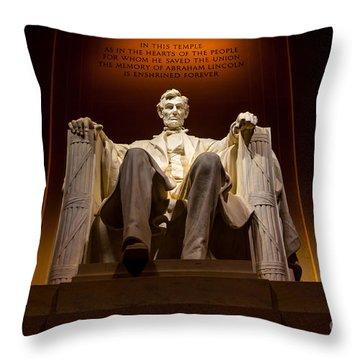 Lincoln Memorial At Night - Washington D.c. Throw Pillow