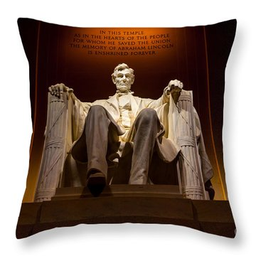 Lincoln Memorial At Night - Washington D.c. Throw Pillow by Gary Whitton