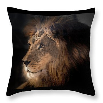 Throw Pillow featuring the photograph Lion King Of The Jungle by James Sage