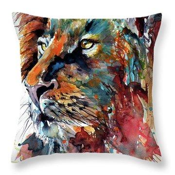 Lion Throw Pillow by Kovacs Anna Brigitta