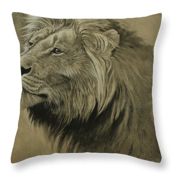 Throw Pillow featuring the digital art Lion Portrait by Aaron Blaise