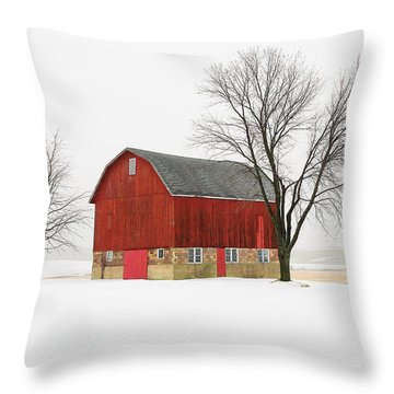 Little Red Barn Throw Pillow