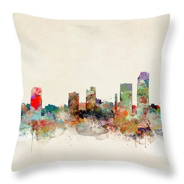 Throw Pillow featuring the painting Little Rock Arkansas by Bri B