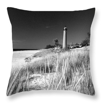 Little Sable Light Station - Film Scan Throw Pillow by Larry Carr