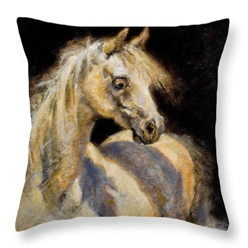 Little White Mare Throw Pillow