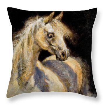 Little White Mare Throw Pillow