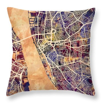Liverpool England Street Map Throw Pillow