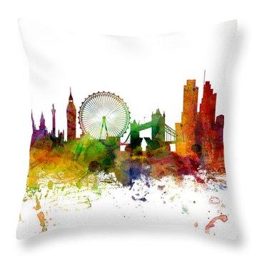 London England Skyline Panoramic Throw Pillow