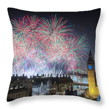 London New Year Fireworks Display Throw Pillow
