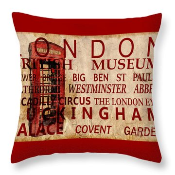 London Vintage Poster Red Throw Pillow