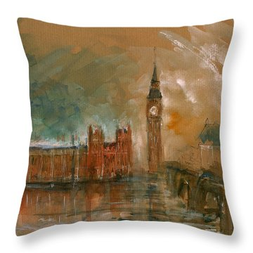 London Watercolor Painting Throw Pillow by Juan  Bosco