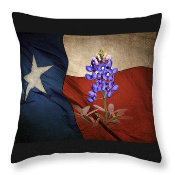 Lone Star Bluebonnet Throw Pillow