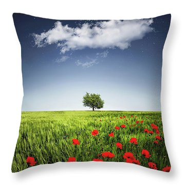 Lone Tree A Poppies Field Throw Pillow
