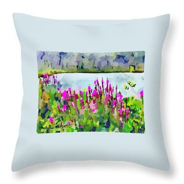 Loosestrife Blooming At Sleepy Hollow Pond Throw Pillow
