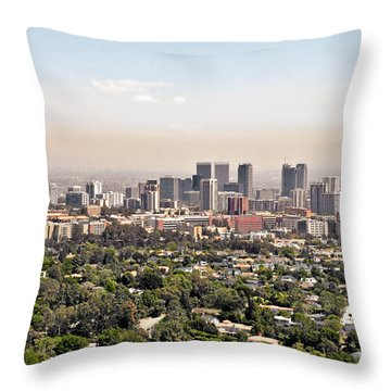 Los Angeles California - Glitter And Trouble Throw Pillow by Christine Till