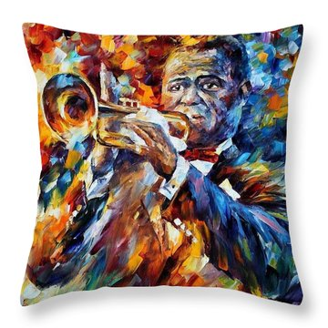 Louis Armstrong Throw Pillow by Leonid Afremov