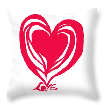 Love In Red Throw Pillow by Mary Armstrong