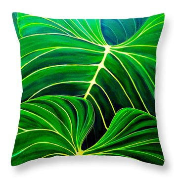 Throw Pillow featuring the painting Lovely Greens by Debbie Chamberlin