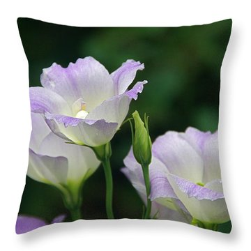 Throw Pillow featuring the photograph Lovely Lisianthus by Byron Varvarigos
