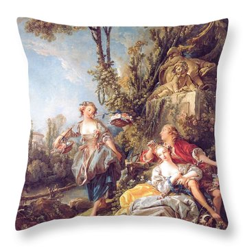Lovers In A Park Throw Pillow by Pg Reproductions