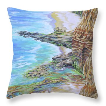 Low Tide Sunset Cliffs Throw Pillow