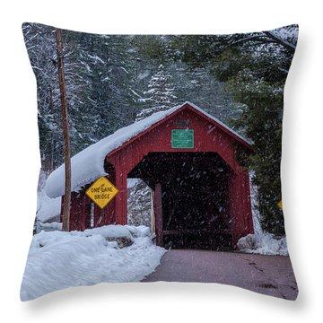Lower Covered Bridge Throw Pillow