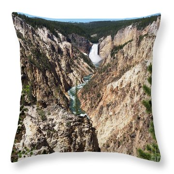 Lower Falls From Artist Point In Yellowstone National Park Throw Pillow by Louise Heusinkveld