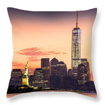 Lower Manhattan And The Statue Of Liberty At Sunrise Throw Pillow