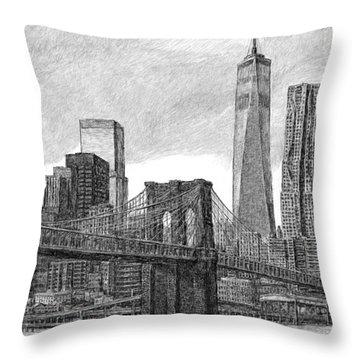 Lower Manhattan Skyline Throw Pillow