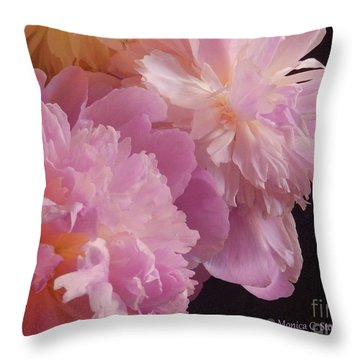 M Shades Of Pink Flowers Collection No. P66 Throw Pillow