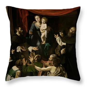 Madonna Of The Rosary  Throw Pillow