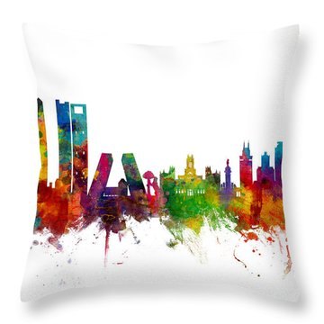 Madrid Spain Skyline Throw Pillow