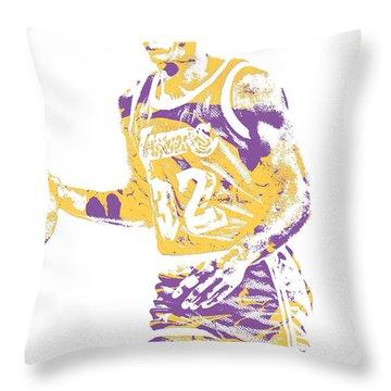 Magic Johnson Los Angeles Lakers Pixel Art 5 Throw Pillow