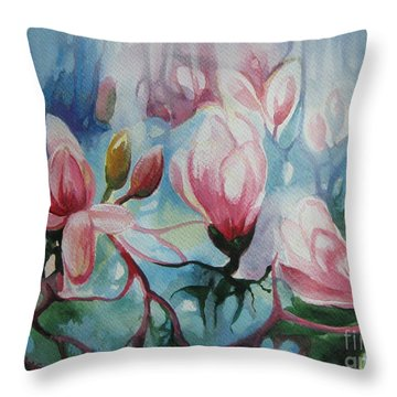 Throw Pillow featuring the painting Magnolia by Elena Oleniuc