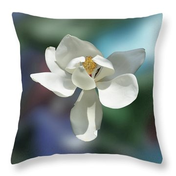 Magnolia Throw Pillow by Helen Haw