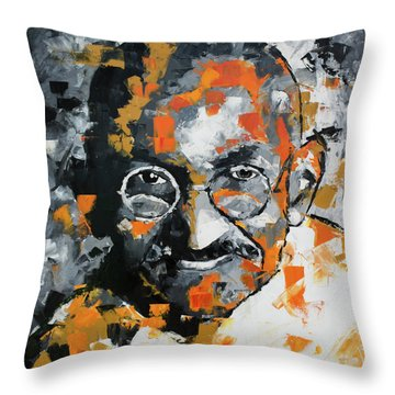 Throw Pillow featuring the painting Mahatma Gandhi by Richard Day