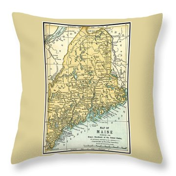 Maine Antique Map 1891 Throw Pillow