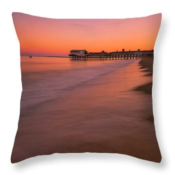 Throw Pillow featuring the photograph Maine Old Orchard Beach Pier Sunset by Ranjay Mitra