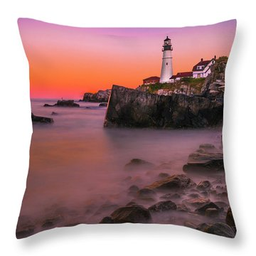 Throw Pillow featuring the photograph Maine Portland Headlight Lighthouse At Sunset by Ranjay Mitra