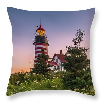 Maine West Quoddy Head Light At Sunset Throw Pillow by Ranjay Mitra