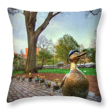Make Way For Ducklings - Boston Throw Pillow by Joann Vitali