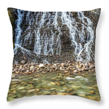 Cascades Of Maligne Canyon Throw Pillow