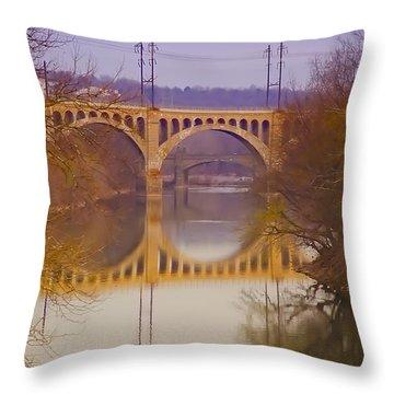 Manayunk Bridge Throw Pillow by Bill Cannon
