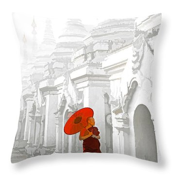 Mandalay Monk Throw Pillow by Dennis Cox WorldViews